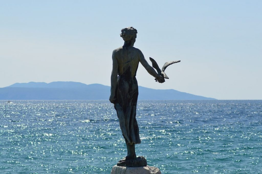 There are several sculptures, including the girl with the seagull on the Lungomare in Opatija, Istria, Croatia